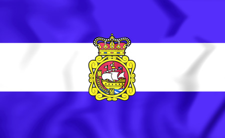 spainish: Flag of Aviles (Asturias), Spain. 3D Illustration.
