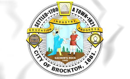 Brockton coat of arms (Massachusetts), USA. 3D Illustration.