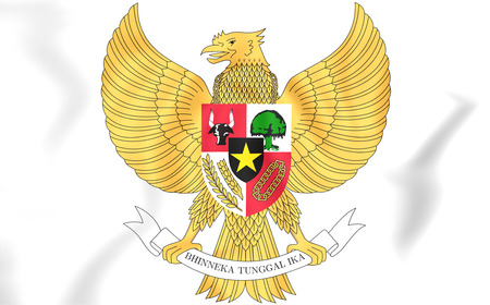 Indonesia Coat of Arms. 3D Illustration.