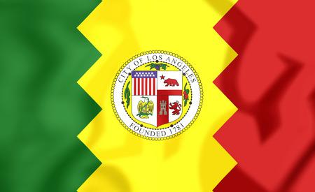 angeles: 3D Flag of Los Angeles, USA. 3D Illustration.