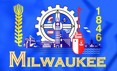 Milwaukee: 3D Flag of Milwaukee (Wisconsin), USA. 3D Illustration. Stock Photo