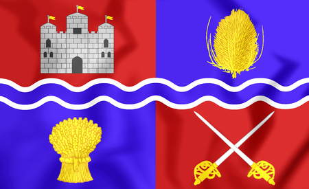 proposed: 3D Flag of Newbury, England. 3D Illustration. Stock Photo