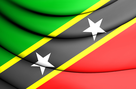 the federation: Flag of Federation of Saint Kitts and Nevis. 3D Illustration.