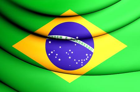 3D Flag of Brazil. 3D Illustration.