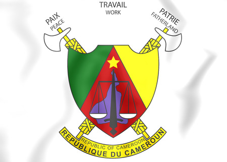 Cameroon Coat of Arms. 3D Illustration.
