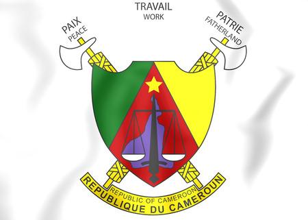 republique: Cameroon Coat of Arms. 3D Illustration.