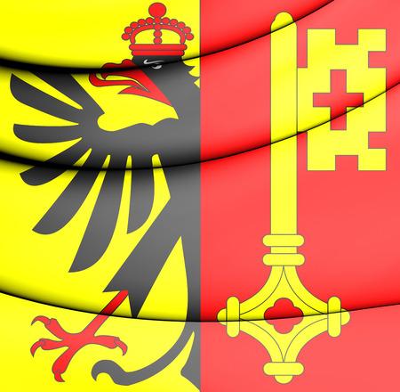 canton: Flag of Geneva Canton, Switzerland. 3D Illustration.