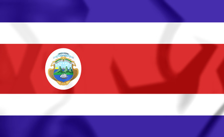 costa rican flag: 3D Flag of Costa Rica. 3D Illustration. Stock Photo