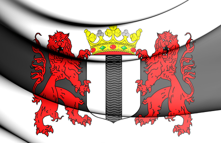 3D Flag of Delft, Netherlands. 3D Illustration.