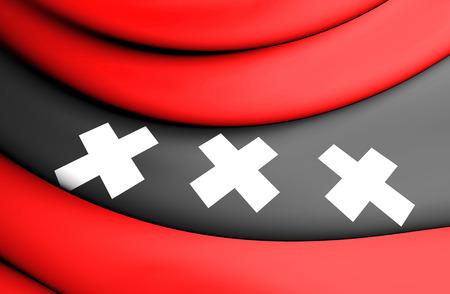 3D Flag of Amsterdam, Netherlands. 3D Illustration. Stock Photo
