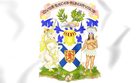 nova: Nova Scotia Coat of Arms, Canada. 3D Illustration.