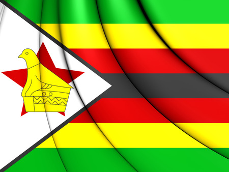 zimbabwe: 3D Flag of Zimbabwe. 3D Illustration.