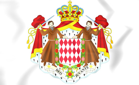 Monaco Coat of Arms. 3D Illustration.