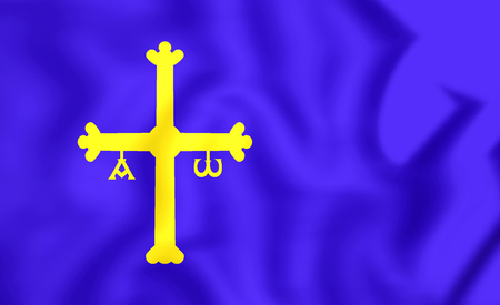 principality: Principality of Asturias Flag, Spain. 3D Illustration.