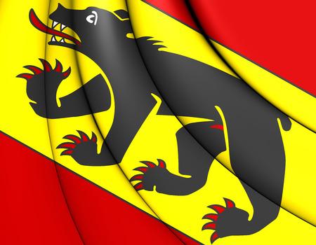 canton: 3D Flag of Bern Canton, Switzerland. 3D Illustration.
