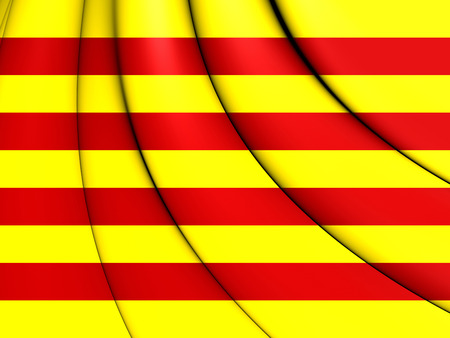 catalonian: 3D Flag of Catalonia. 3D Illustration.