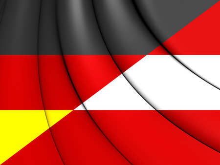 europe closeup: Combined Flag of Austria and Germany. 3D Illustration.