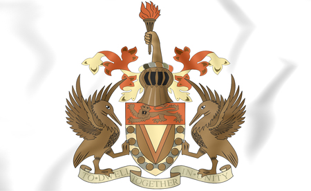windward: West Indies Federation coat of arms (1958-1962). 3D Illustration.