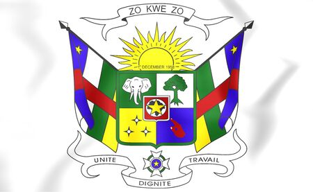 republique: Central African Republic coat of arms. 3D Illustration.