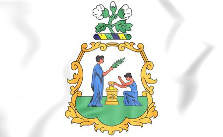 grenadines: Saint Vincent and the Grenadines coat of arms. 3D Illustration.