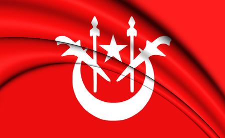 3D Flag of Kelantan, Malaysia. 3D Illustration.