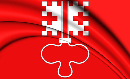 canton: 3D Flag of Nidwalden Canton, Switzerland. 3D Illustration.