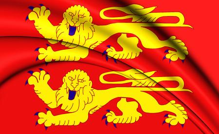3D Flag of Normandy, France. 3D Illustration. Stock Photo