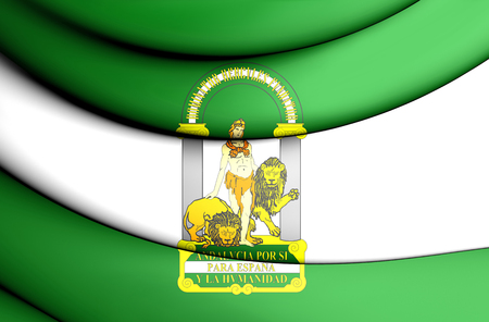 spainish: 3D Flag of Andalusia, Spain. 3D Illustration.