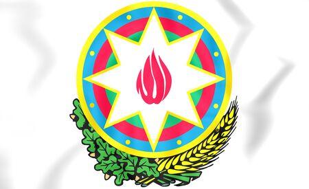 azerbaijanian: Azerbaijan coat of arms. 3D Illustration. Stock Photo
