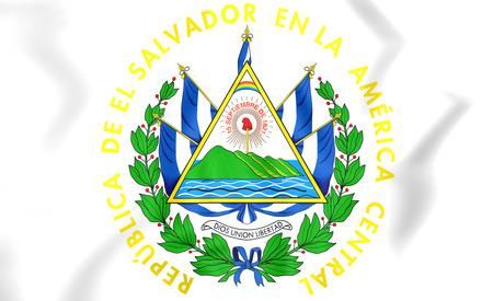 bandera de el salvador: El Salvador escudo de armas. Ilustración 3D. Foto de archivo