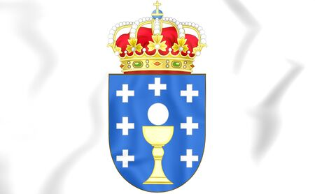 provincial: Galicia coat of arms, Spain. 3D Illustration. Stock Photo