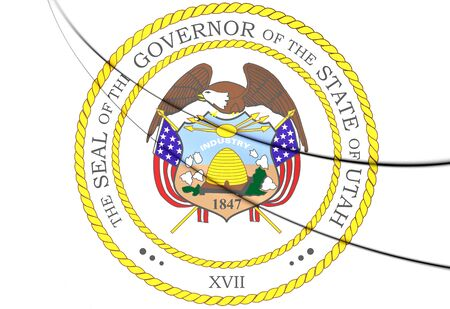 governor: Governor of Utah Seal, USA. 3D Illustration.