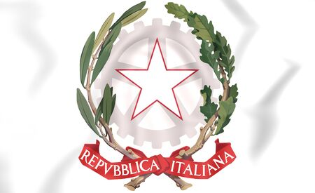 europe closeup: Italy Coat of Arms. 3D Illustration.