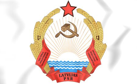 Latvian SSR coat of arms. 3D Illustration.