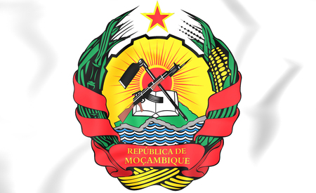 Mozambique Coat of Arms. 3D Illustration.    Stock Photo