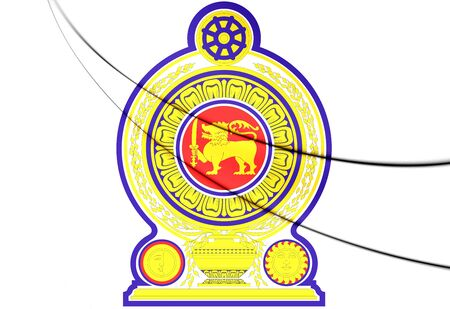 Sri Lanka coat of arms. 3D Illustration.