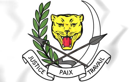 republique: Zaire coat of arms (1971-1997). 3D Illustration.
