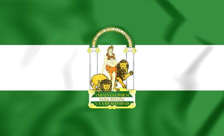 3D-vlag van Andalusië, Spanje. 3D Illustratie.