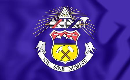 flag of colorado: 3D Flag of Colorado (1907-1911), USA. 3D Illustration.