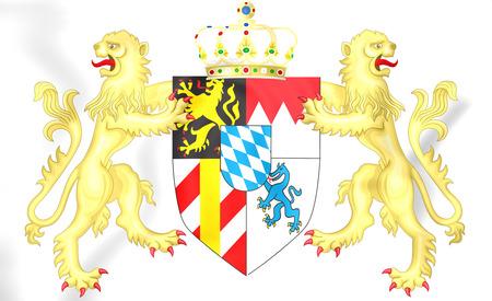 Koninkrijk van het wapenschild van Beieren. 3D illustratie. Stockfoto