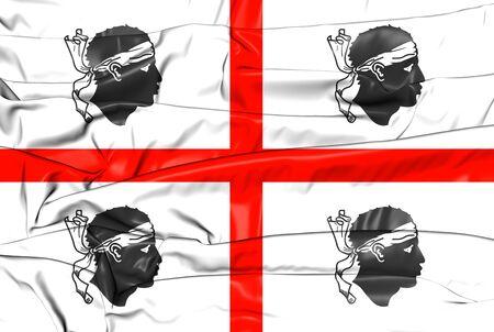 sardinia: 3D Flag of Sardinia, Italy. 3D Illustration.