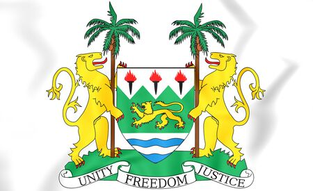 sierra leone: Sierra Leone Coat of Arms. 3D Illustration.