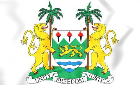 Sierra Leone Coat of Arms. 3D Illustration.