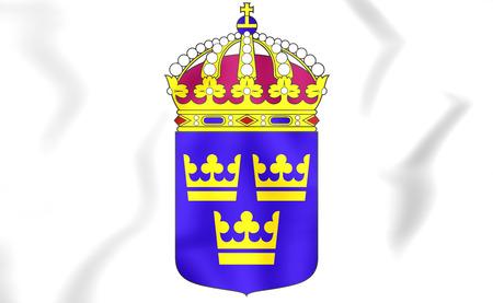europe closeup: Sweden coat of arms. 3D Illustration.