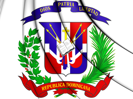 Dominican Republic Coat of Arms. 3D Illustration.   Stock Photo
