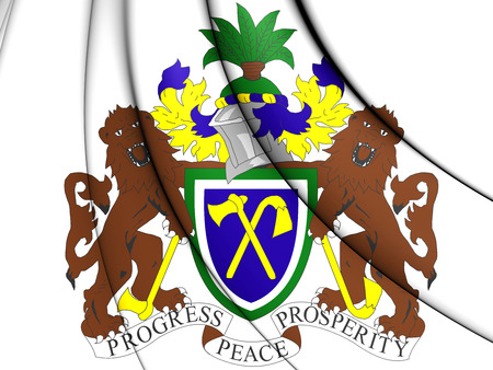 gambia: Gambia coat of arms. 3D Illustration.
