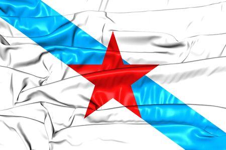 Socialist Nationalist Galician Flag. 3D Illustration.