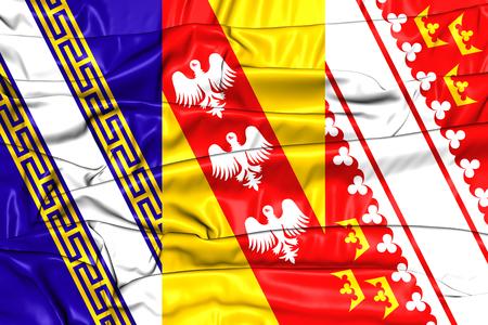 blason: 3D Flag of Grand Est, France. 3D Illustration.
