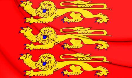 3D Flag of Upper Normandy, France. 3D Illustration.