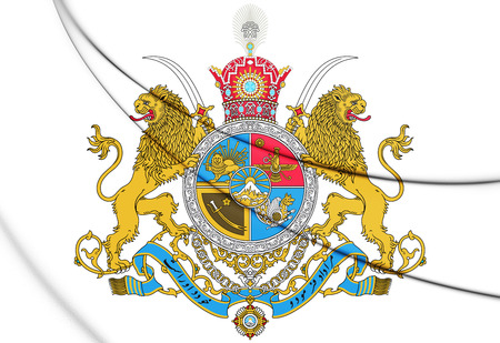 historic: 3D Imperial Coat of Arms of Iran. 3D Illustration.